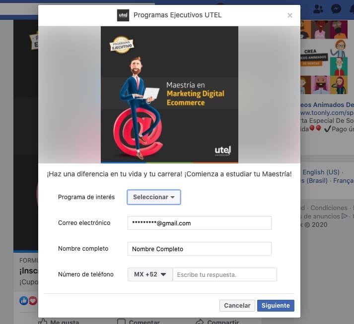 Tipos de anuncios en Facebook: formularios