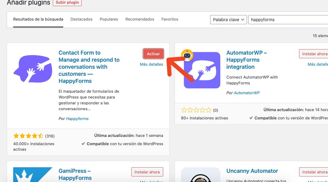 Formulario de contacto en WordPress: activar plugin