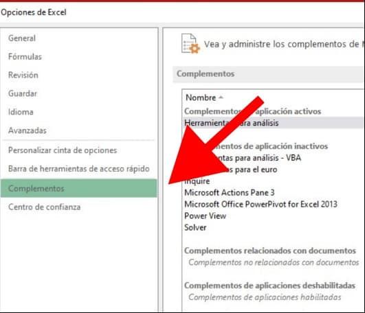 Cómo realizar un análisis de datos en Excel: elige la opción «Complementos»