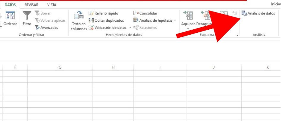 Cómo realizar un análisis de datos en Excel: haz clic en «Análisis de datos»