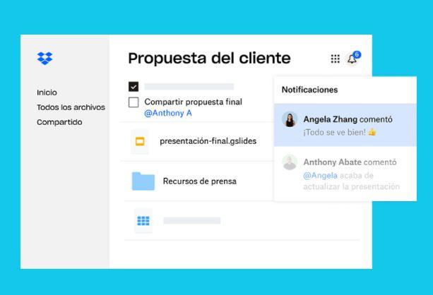 App para administrar negocios: Dropbox
