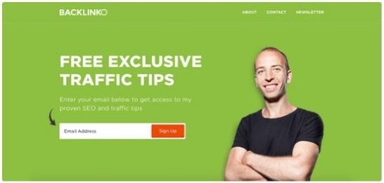 Ejemplo de squeeze page: Backlinko