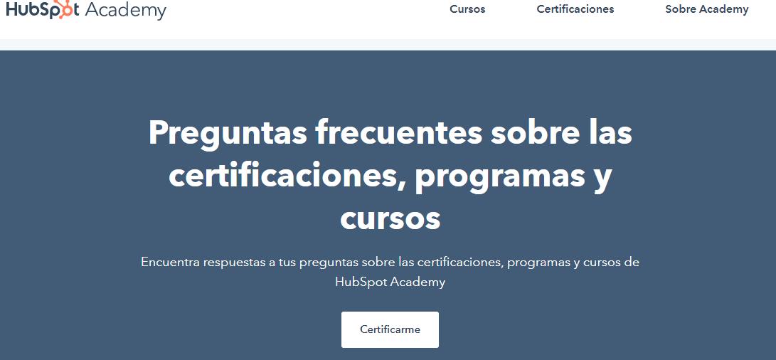 Bases de conocimiento: ejemplo de HubSpot Academy