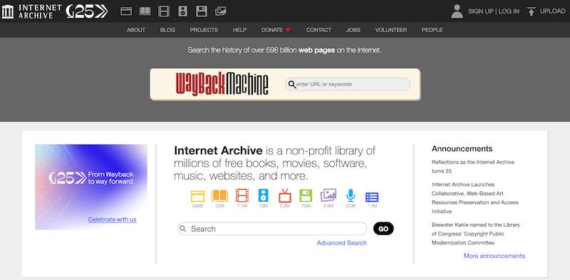 Buscadores de internet más utilizados, Internet Archive