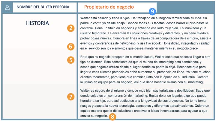 Ejemplo de buyer persona de FourDiaz Vargas: historia