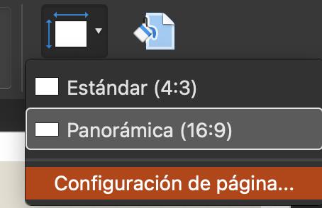 Cómo cambiar el tamaño de diapositiva: selecciona «Configuración de página»