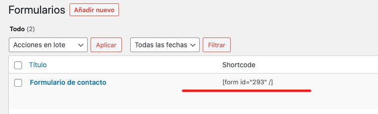 Añadir nuevo formulario de contacto en WordPress en ubicación