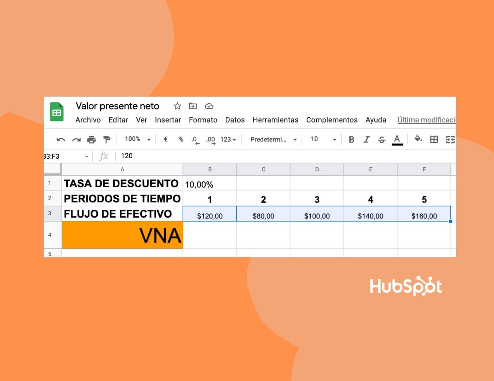 Cómo calcular el VPN en Excel: flujos de efectivo