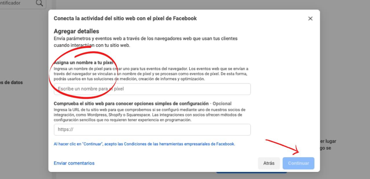Cómo crear un píxel de Facebook para tu sitio web: selecciona un nombre de píxel