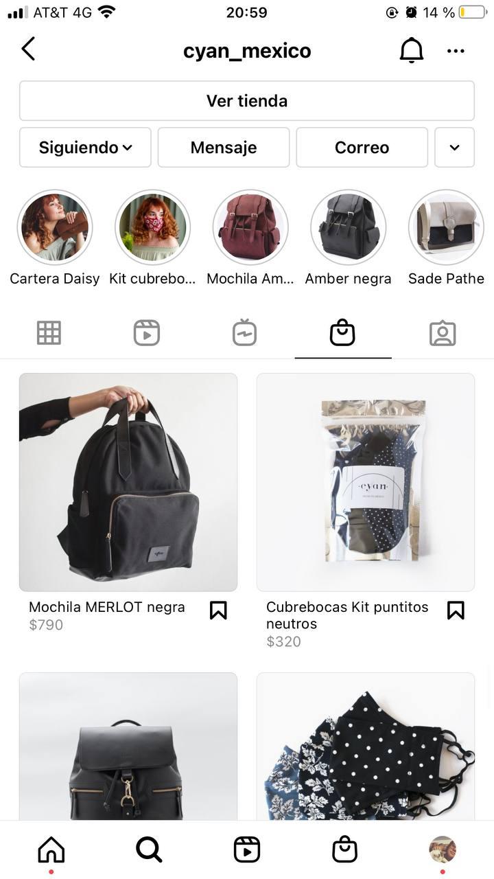 Ejemplo de cómo agregar tu catálogo a tu perfil de Instagram: Cyan México