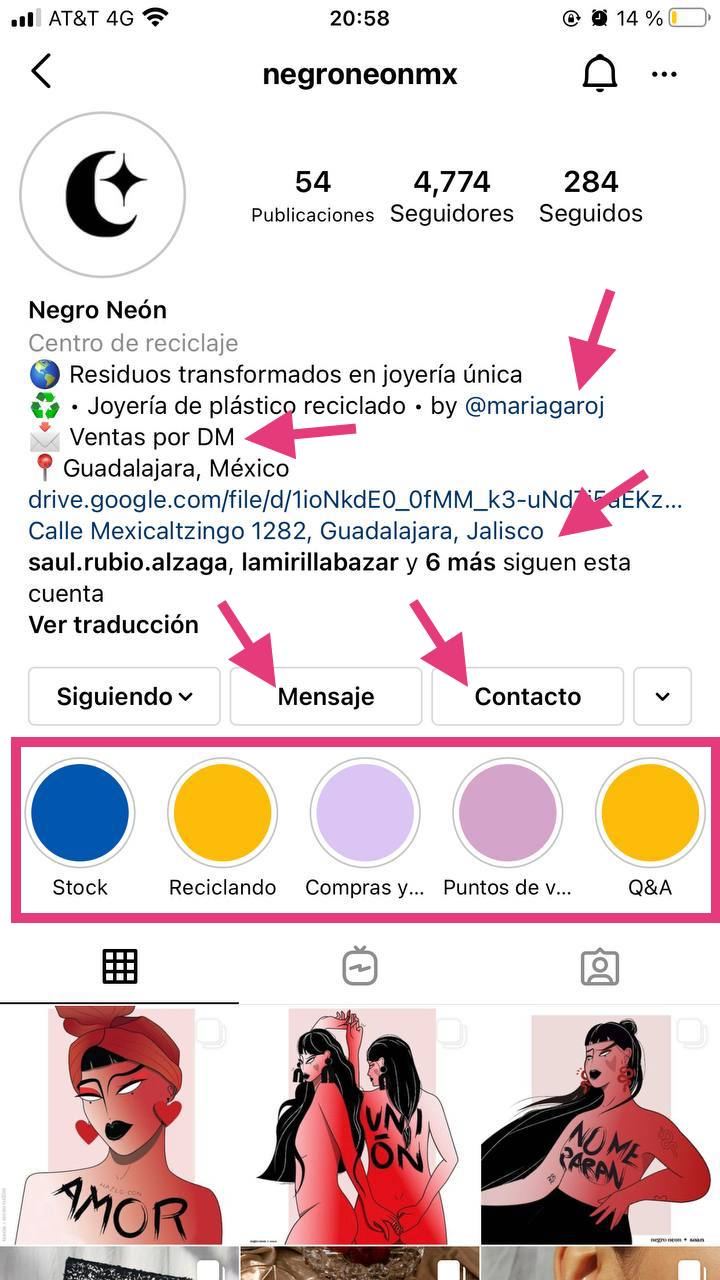 Ejemplo de cómo agregar información útil en tu perfil de Instagram