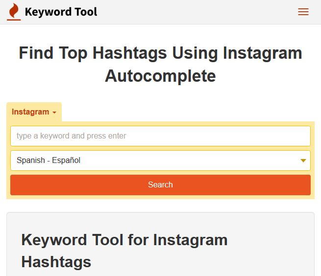 Ventana de diálogo de Keyword Tool para encontrar los hashtags más populares en Instagram