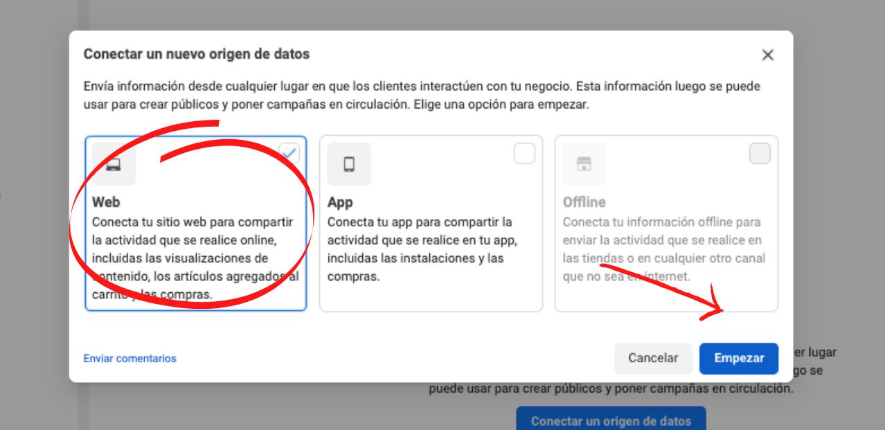 Cómo crear un Píxel de Facebook para tu sitio web: Selecciona la opción «Web»