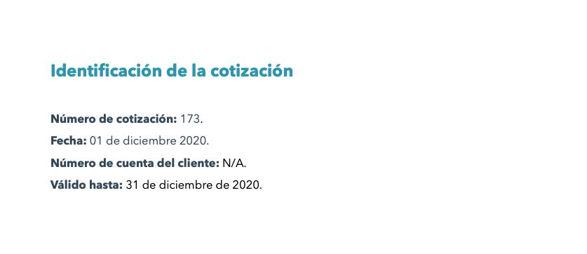 Identificación de la cotización en ejemplo de cotización de un centro de atención a clientes