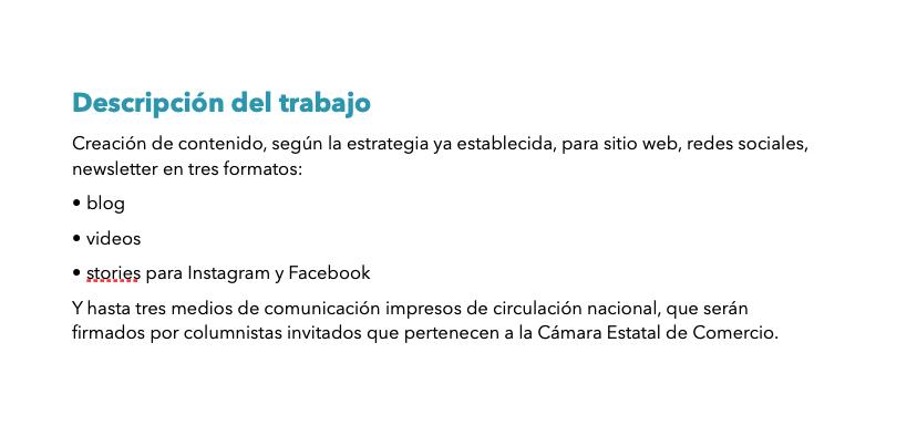Descripción del trabajo en la plantilla de cotización para una agencia de creación de contenido