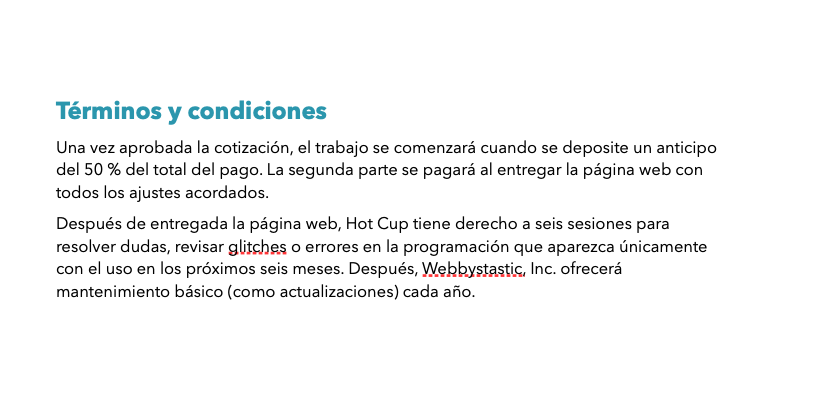 Términos y condiciones en un ejemplo de cotización de una empresa desarrolladora web