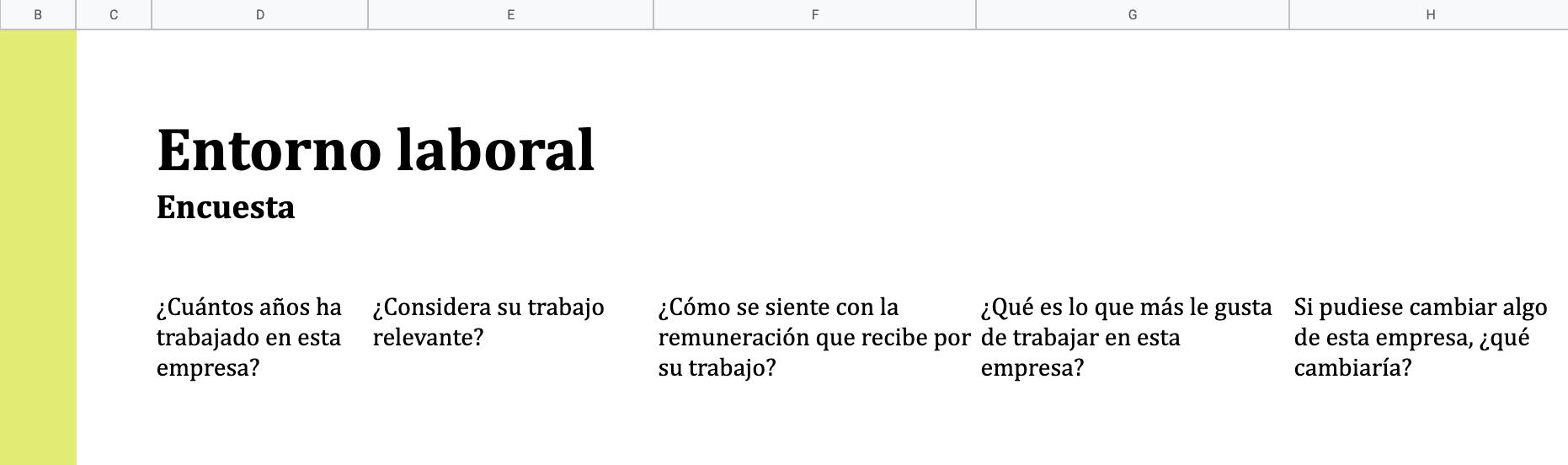 Excel, ejemplo de plantilla de encuesta entorno laboral