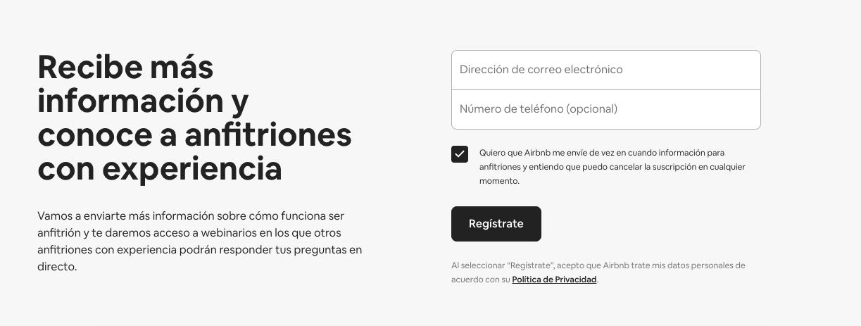 Ejemplo de landing page con formulario de Airbnb