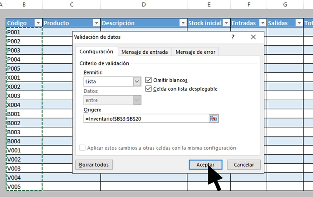 Origen de datos para cómo hacer inventario en Excel