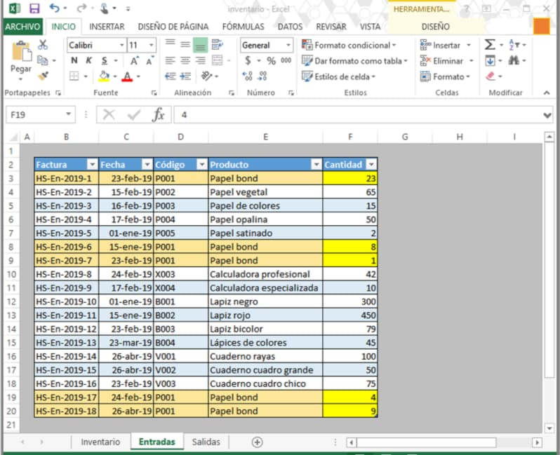 Hoja de inventario en Excel