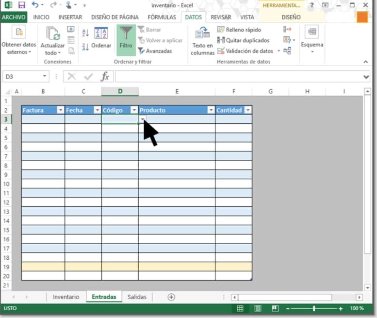 Cómo hacer inventario en Excel: celdas