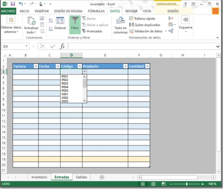 Cómo hacer inventario en Excel: ejemplo de entrada