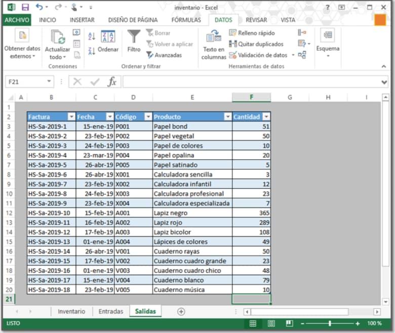 Cómo hacer un inventario en Excel: agregar datos de factura