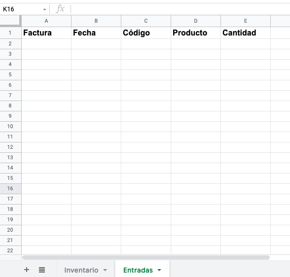Ejemplo de inventario en Excel: columnas necesarias