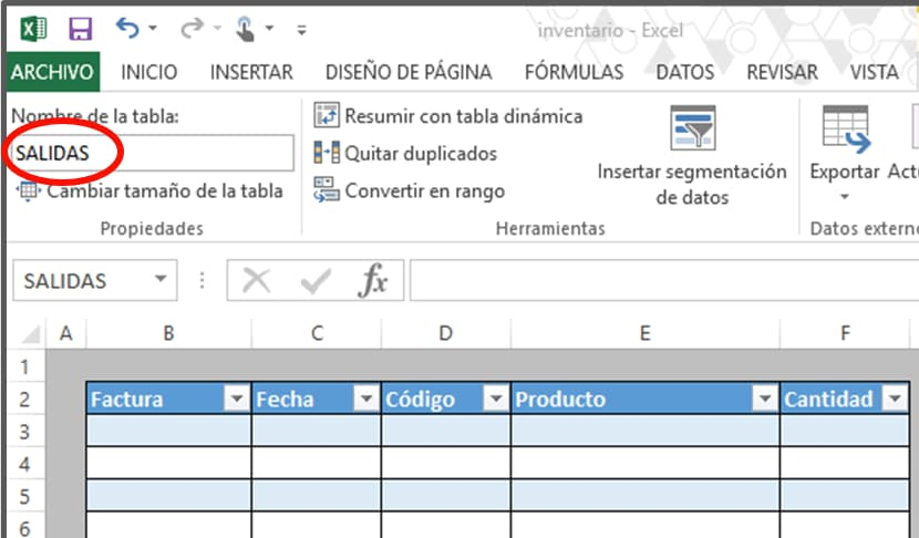 Cómo hacer tabla de inventario en Excel: salidas