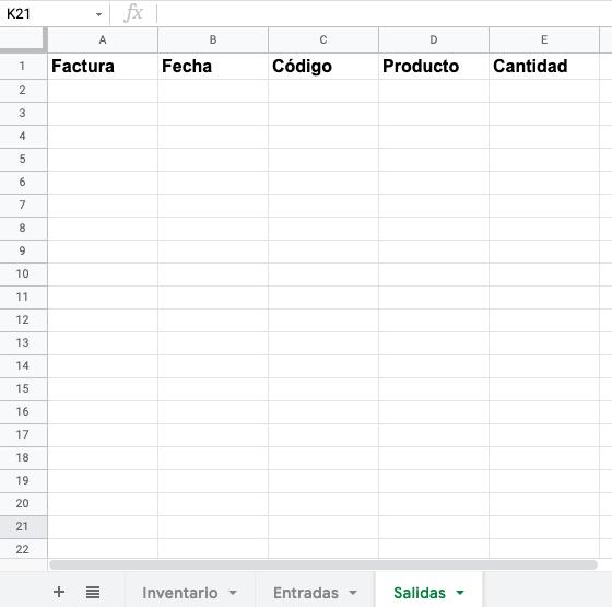 Cómo hacer un inventario en Excel: crear columnas para salidas