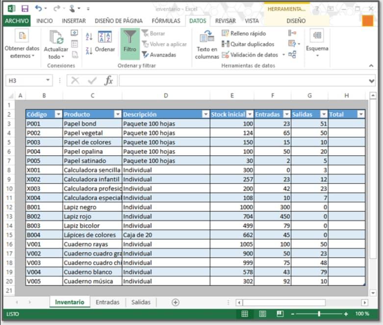 Automatización de inventario en Excel