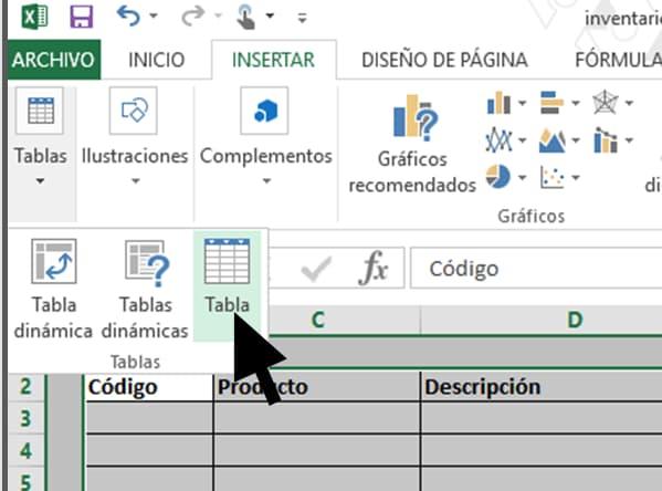Cómo hacer un inventario en Excel paso a paso: tabla