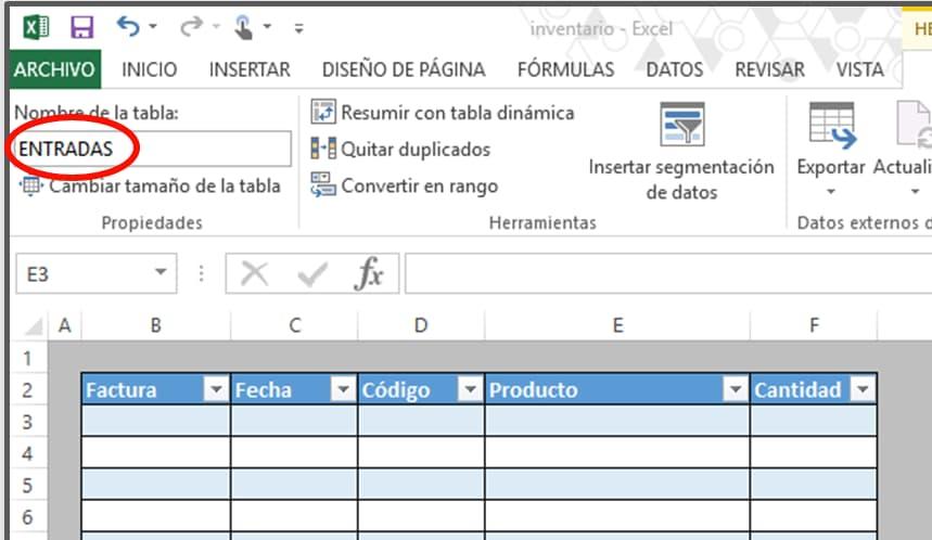 Cómo hacer tabla de inventario en Excel: entradas