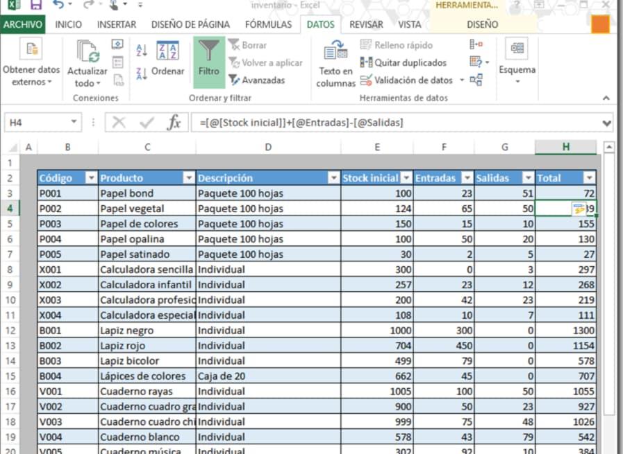 Cómo hacer un inventario de entradas y salidas en Excel: resultado