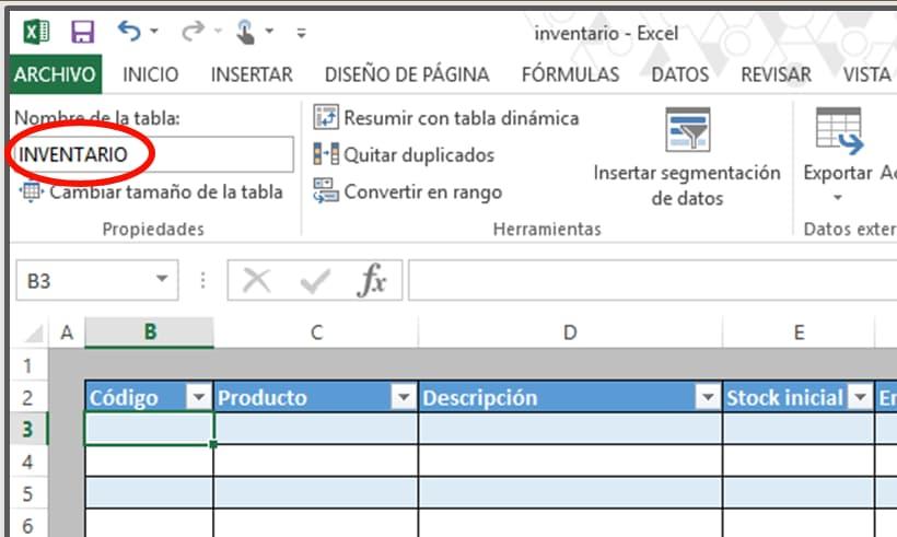 Cómo hacer tabla de inventario en Excel: nombre