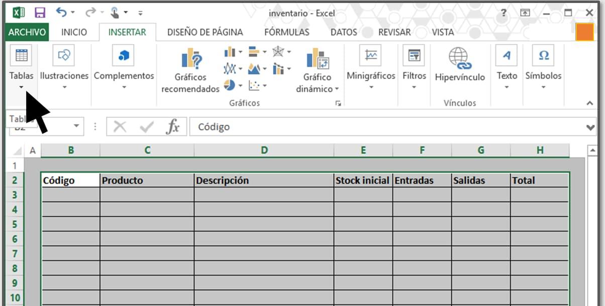 Cómo hacer un inventario en Excel paso a paso: código