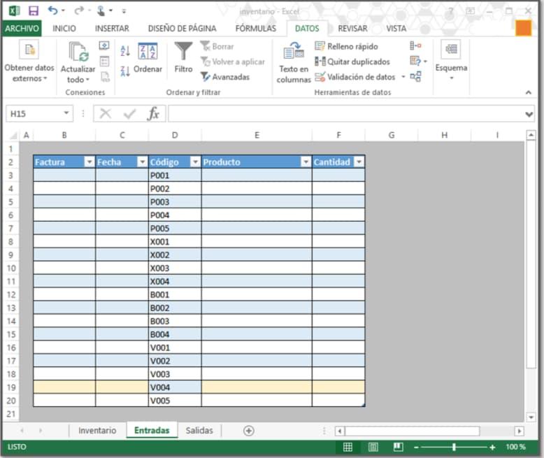 Llenado de tabla de cómo hacer un inventario en Excel
