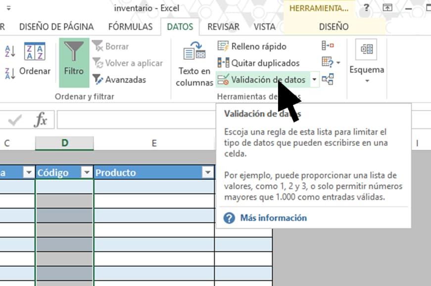 Validación para hacer un inventario en Excel paso a paso