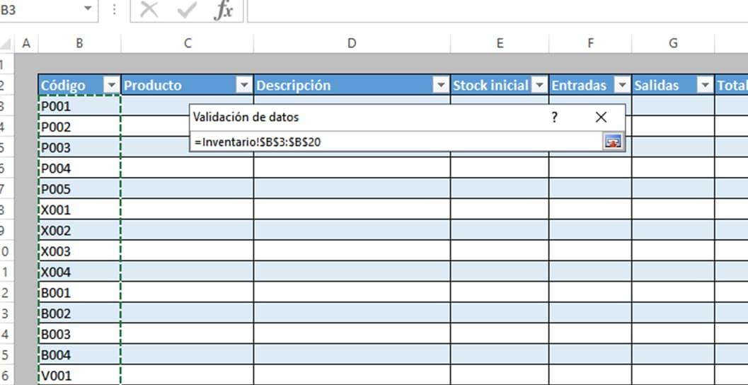 Ventana cómo hacer inventario en Excel con imágenes