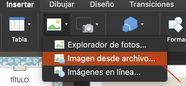 Cómo insertar un archivo GIF en PowerPoint: selecciona «Imagen en archivo»