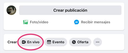 Botón «En vivo» para iniciar el proceso de Facebook Live en PC