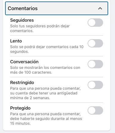 Opciones de configuración de comentarios de espectadores para una transmisión de Facebook Live desde PC