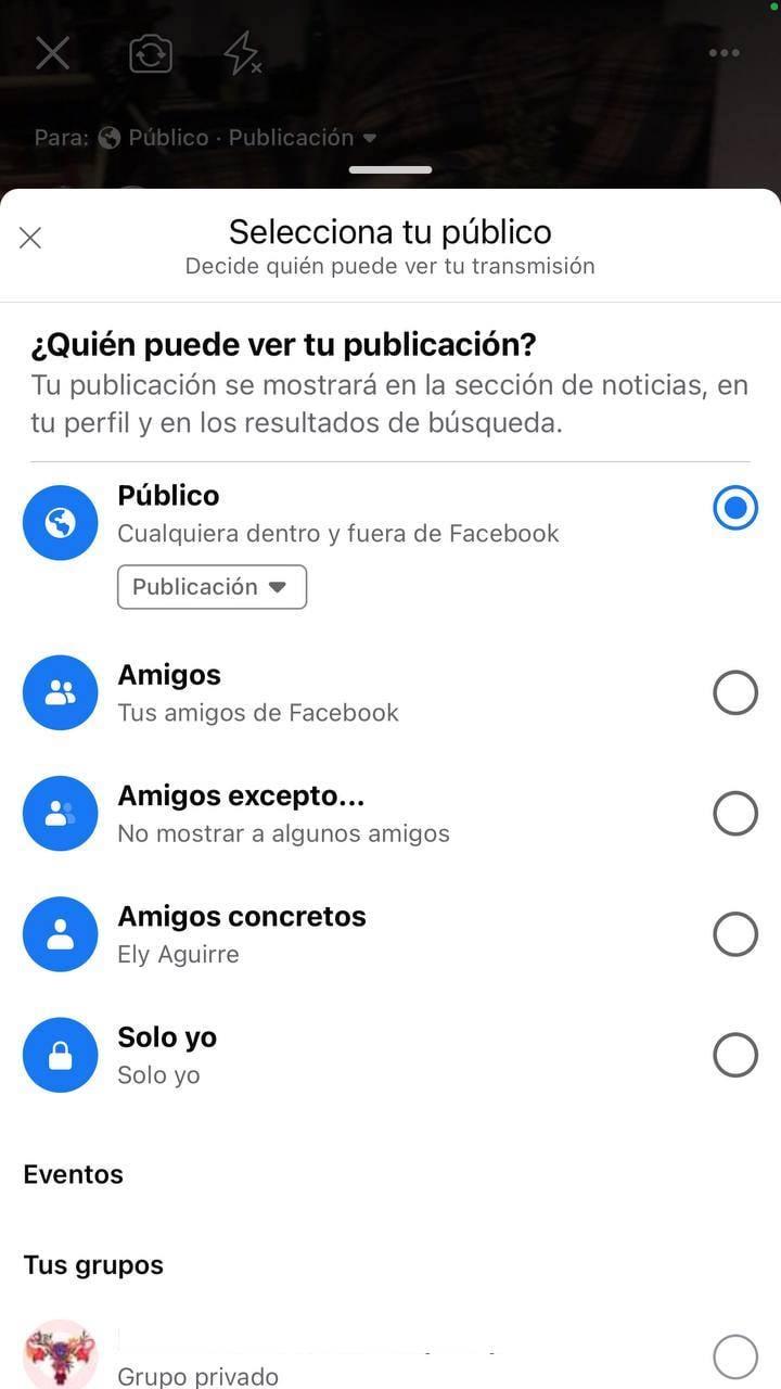 Cómo transmitir en vivo en Facebook: menú para seleccionar el público que podrá ver la transmisión
