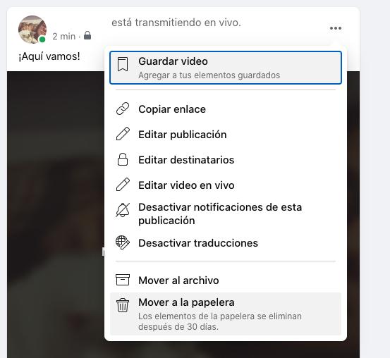 Cómo guardar, editar o eliminar un video de Facebook Live desde el perfil