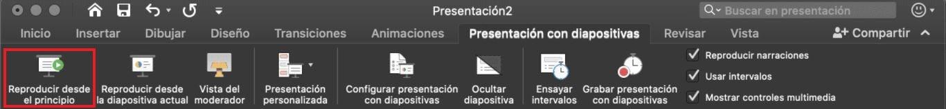 Cómo usar PowerPoint: reproducir la presentación desde el principio