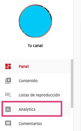 Opción de Analytics en el menú de la izquierda del canal de YouTube para ver los suscriptores