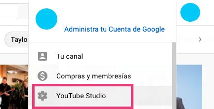 Opción para elegir YouTube Studio para ver los suscriptores al canal