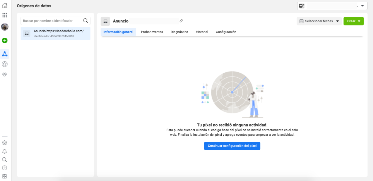 Cómo acceder a los píxeles de Facebook: dirígete al administrador de eventos
