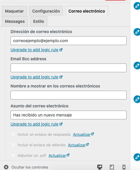 Añadir nuevo formulario de contacto en WordPress: correo electrónico