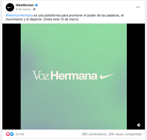Ejemplo de anuncio de Nike para Facebook acerca del Día de la Mujer